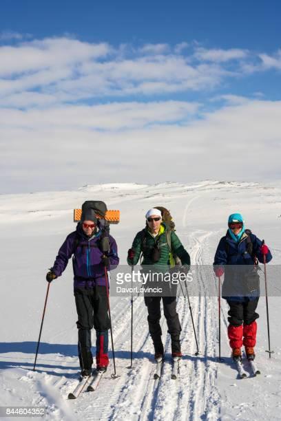 Tre Back Country skidåkare på Hardangervidda plan i Norwey