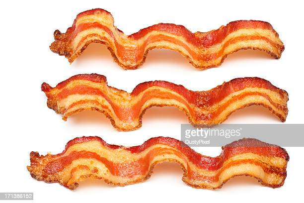 Three bacon slices on white background