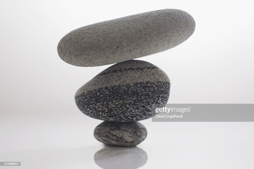 Three balanced stones : Stock Photo