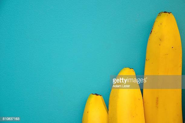 Three Bananas on Blue