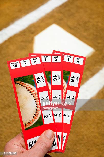 Three Baseball Tickets with home plate in background