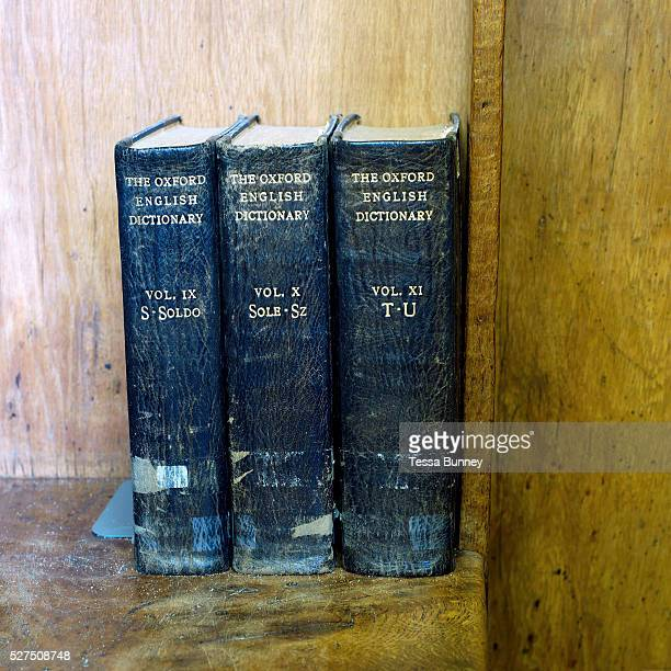 Three battered Oxford English dictionaries in the school library at Ampleforth College North Yorkshire UK Ampleforth College is a coeducational...