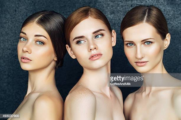 Three beautiful girls with a natural make-up