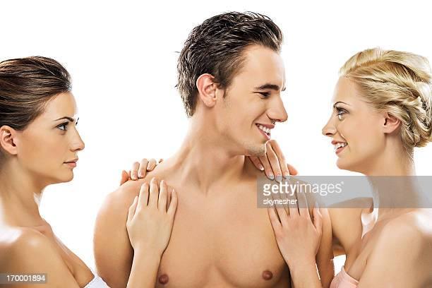 tres belleza personas. - hombre desnudo fondo blanco fotografías e imágenes de stock
