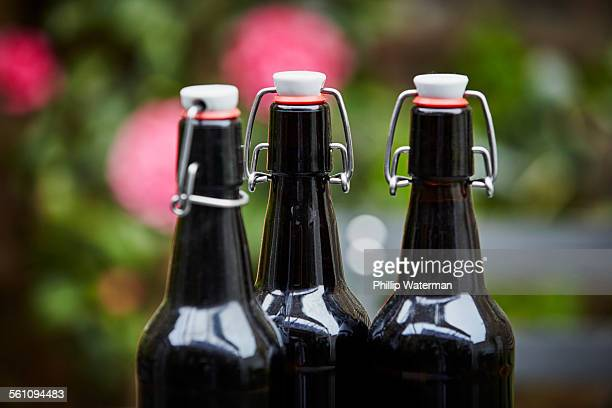 Three beer bottles, close up