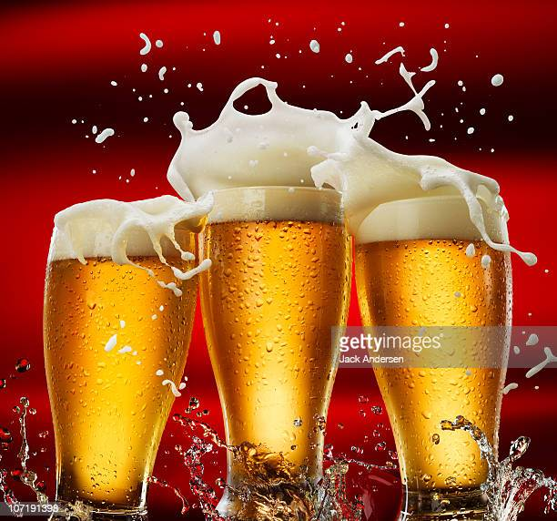 three beer glasses - beer glass stock pictures, royalty-free photos & images