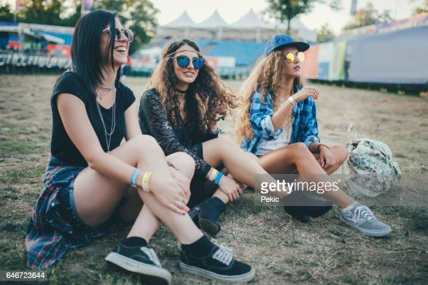 Three best friends at the festival