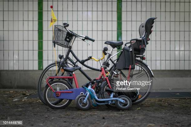 Three bicycles are pictured on August 09 2018 in Berlin Germany