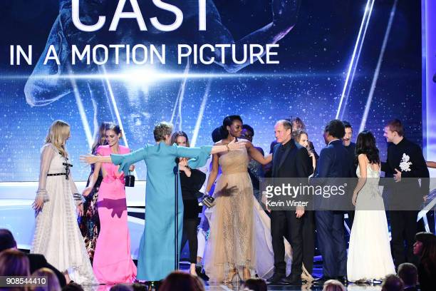 Three Billboards Outside Ebbing Missouri' castmates accept the Outstanding Performance by a Cast in a Motion Picture award onstage during the 24th...
