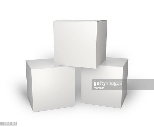 three blank box isolated on white - three objects stock pictures, royalty-free photos & images