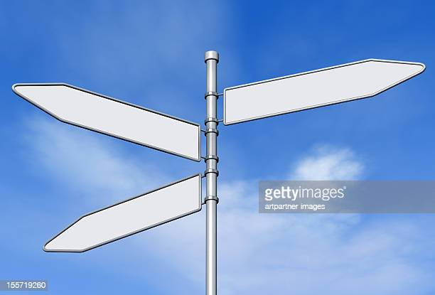 Three blank signs on a signpost against blue sky