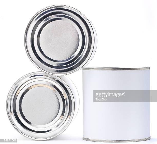 Three blank tin cans
