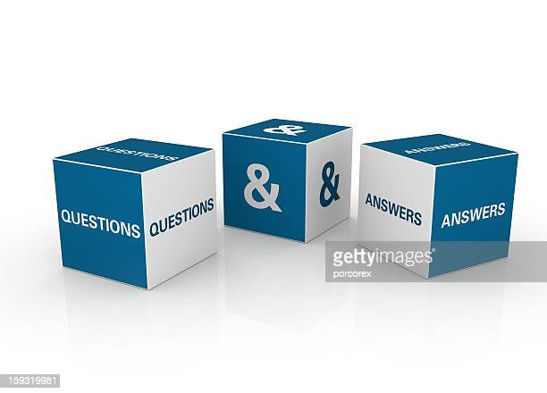 Three blue and white question and answer cubes