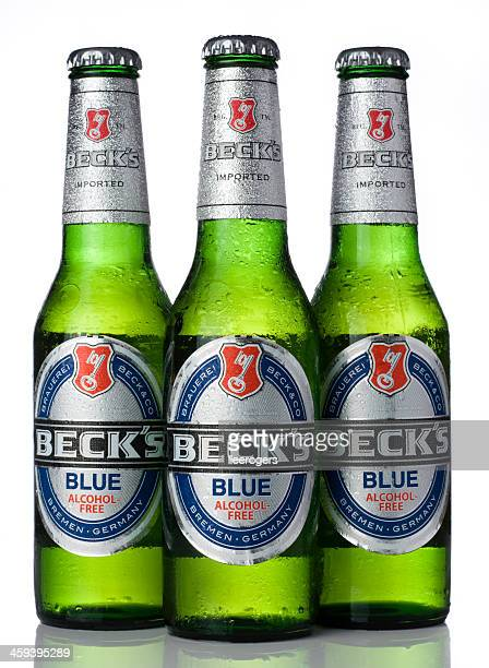 Three bottles of Beck's Blue