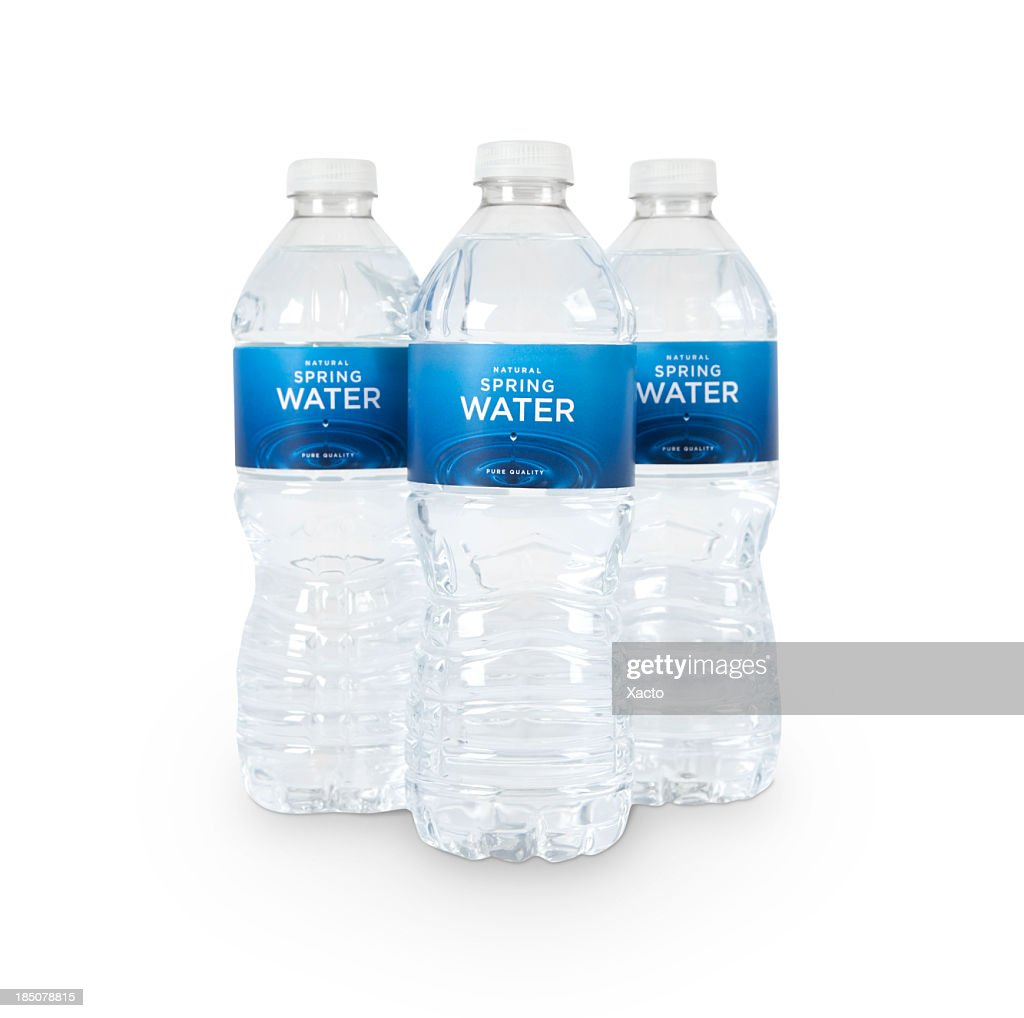 Three Bottles of Water (fictitious) + Clipping Paths : Stock Photo