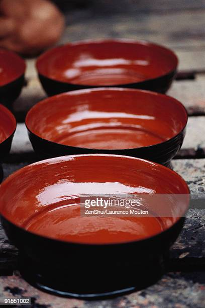 Three bowls arranged in row