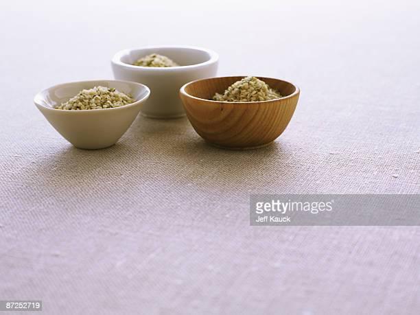 Three bowls of hemp seeds