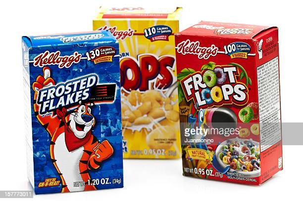 Three boxes of Assorted Kelloggs Cereal