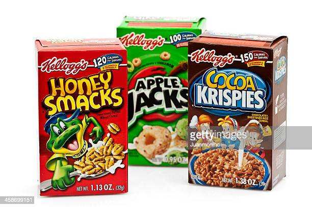 three boxes of assorted kelloggs cereal - breakfast cereal stock pictures, royalty-free photos & images