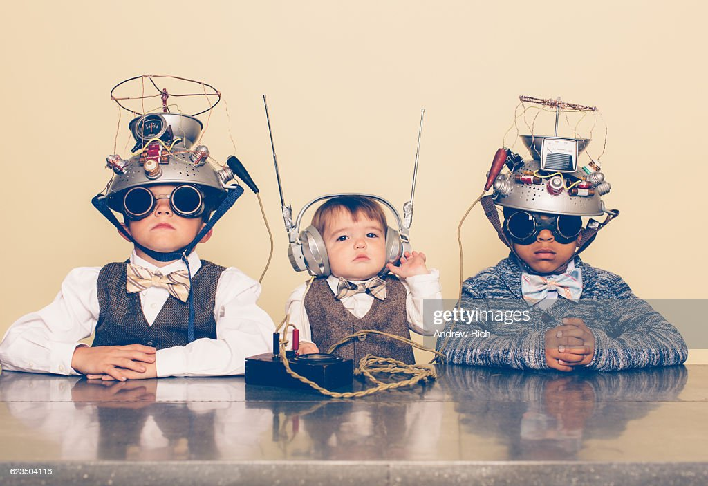 Three Boys Dressed as Nerds with Mind Reading Helmets : Foto de stock