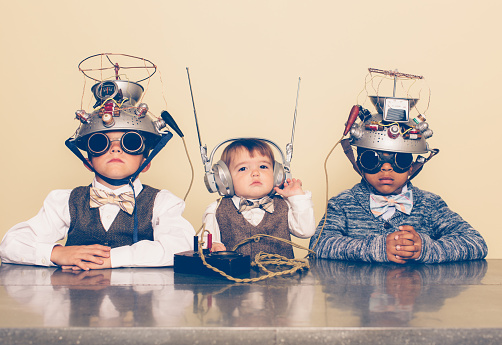 Three Boys Dressed as Nerds with Mind Reading Helmets - gettyimageskorea