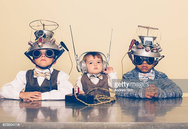 Three Boys Dressed as Nerds with Mind Reading Helmets