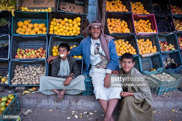 CONTENT] Three boys guarding a fruit shop in Al Tawilah Al Mahwit Governorate Yemen Agriculture is the mainstay of Yemen's economy generating more...