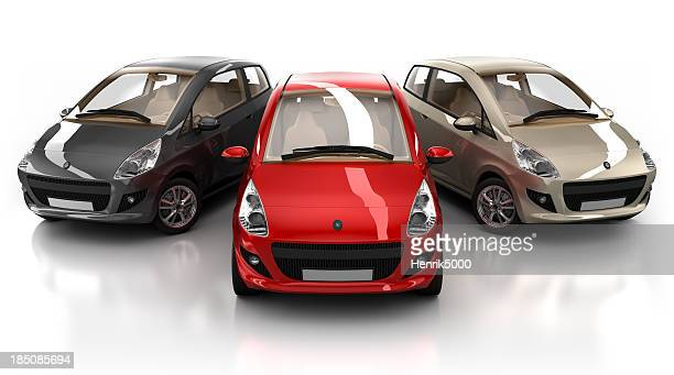 Three brandless hybrid cars with clipping path