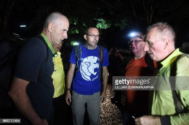 Three British cavedivers Richard William Stanton John Volanthen and Robert Charles Harper arrive at Khun Nam Nang Non Forest Park near the Tham Luang...
