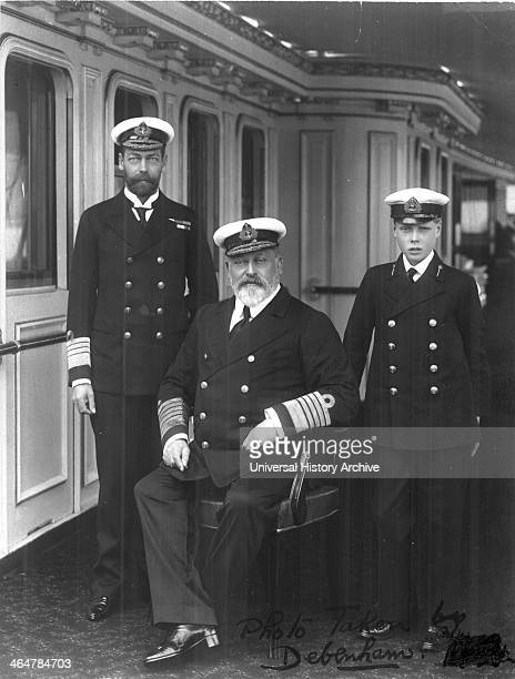 Three British monarchs. Edward VII his son, later George V, left, and his grandson, later Edward VIII, on the right, all in naval uniform. Photograph
