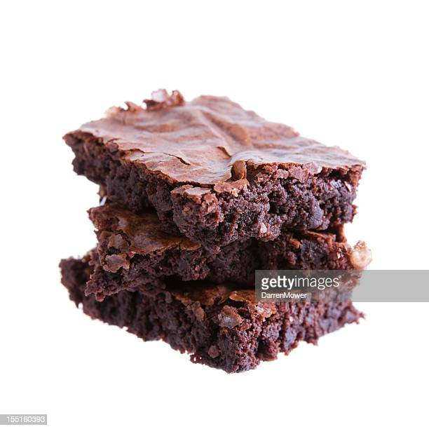 three brownies on top of each other isolated in white - fudge stock photos and pictures