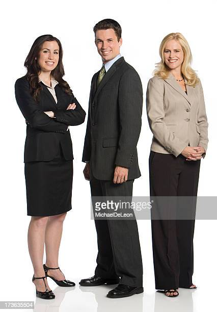 Three business colleagues pose for a photo