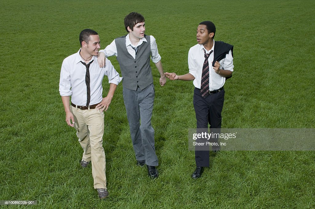 Three businessmen walking across grassy field : Stockfoto