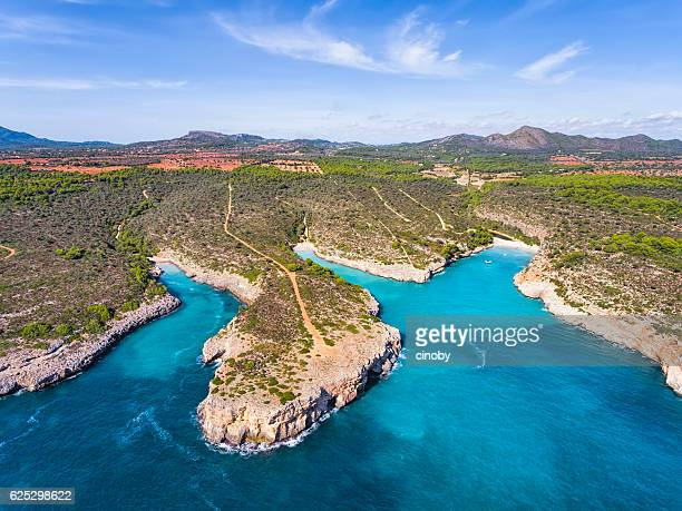 three calas of east coast on spanish balearic island of majorca - estuary stock pictures, royalty-free photos & images