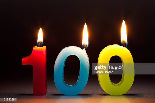 Three Candles In The Shape Of The Number 100
