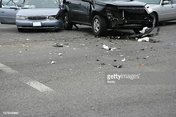 three car collision with bad damage to a black car - car accident stock pictures, royalty-free photos & images