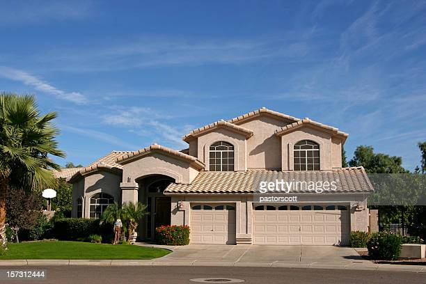 three car garage house in southwest - phoenix arizona stock photos and pictures
