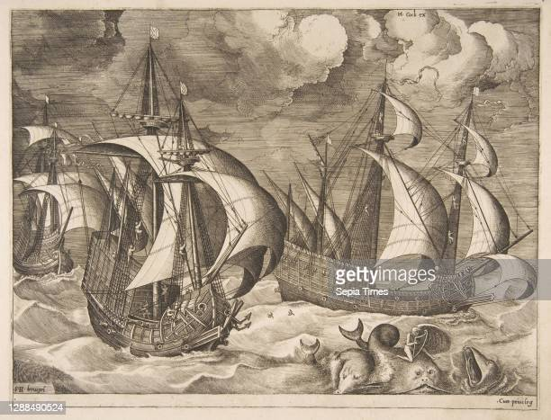 Three Caravels in a Rising Squall with Arion on a Dolphin from The Sailing Vessels, 1561–65, Engraving; first state of six, sheet: 10 1/4 x 21 3/16...