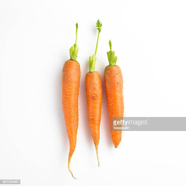 three carrots in a row - carrot stock pictures, royalty-free photos & images