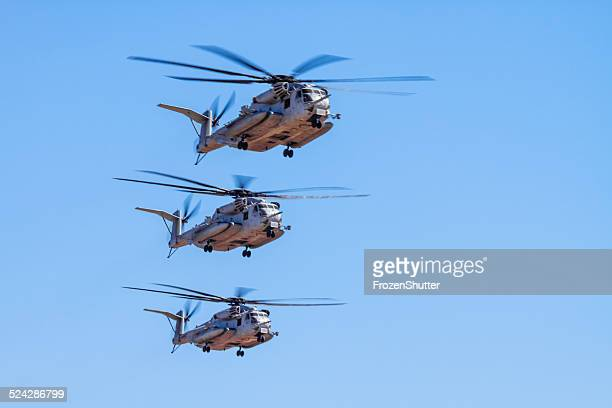 three ch-53e super stallion (sikorsky) helicopter formation - us marine corps stock pictures, royalty-free photos & images