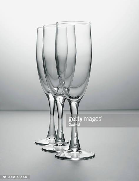 Three champagne glasses, close-up