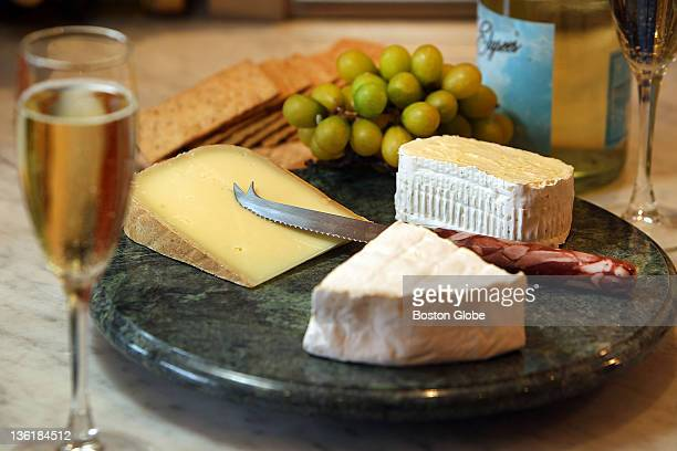 Three cheeses to go with bubbly at Boston Cheese Cellar in Roslindale They are from left to right Istara Ossau Lillie from Vermont and Seal Bay...