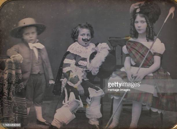 Three Children in Costume 1850s Artist Unknown