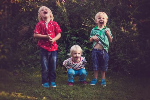 Three children laughing - gettyimageskorea