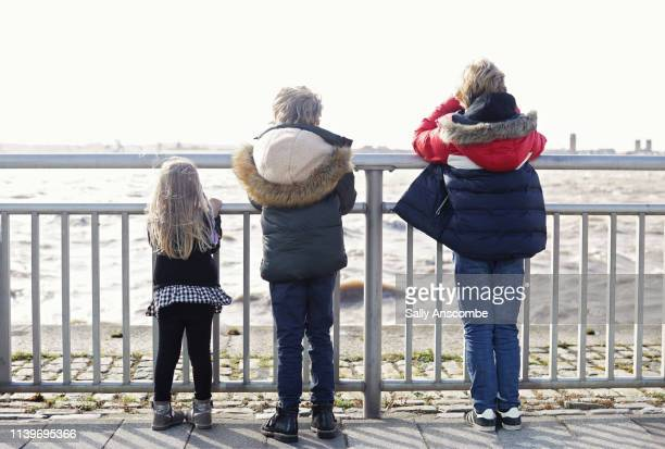three children looking out across a river - sally anscombe stock pictures, royalty-free photos & images