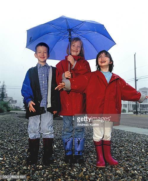 Three children (3-9) standing under umbrella in rain, portrait