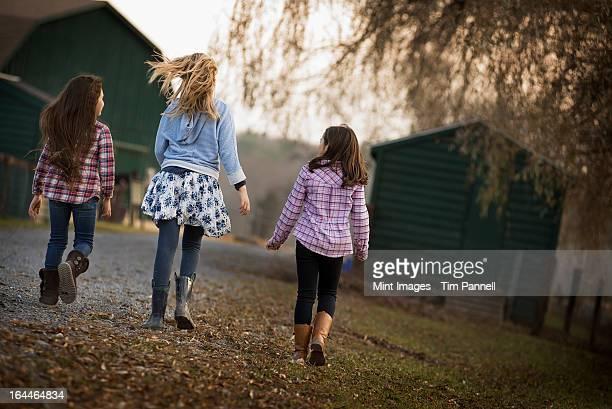 3 人の子供のパスに沿った有機農場ます。 - ソーガーチーズ ストックフォトと画像