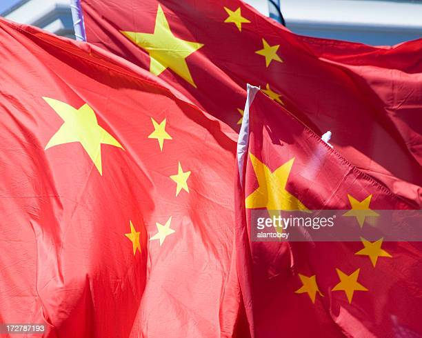 Three Chinese Flags in the Wind