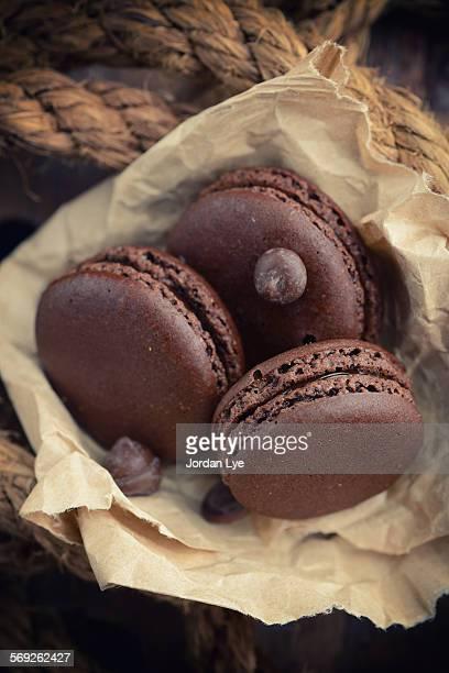 three chocolate Macaroons