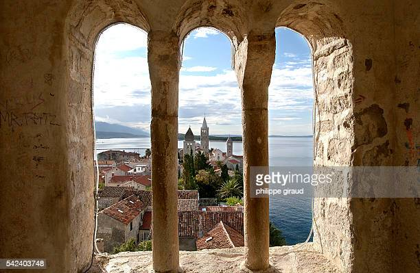 Three churches viewed from the Saint John the Baptist church on Rab Island, located in the Kvarner Gulf.